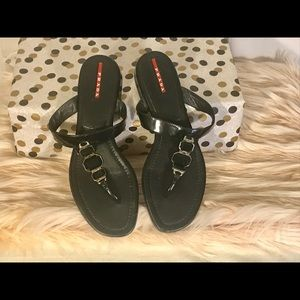 Prada black jeweled flip flops, size 38